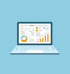 business management on laptop analysis financial vector image
