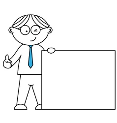 businessman presenting a blank paper vector image