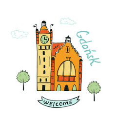 Card with railway station in gdansk vector
