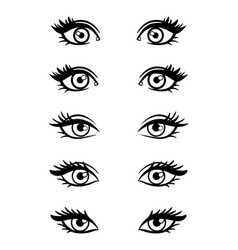 Cartoon character female eyes vector