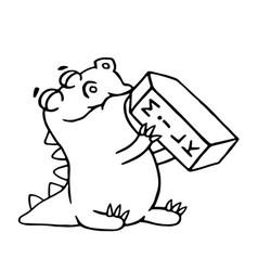 cartoon dinosaur is drinking milk isolated vector image