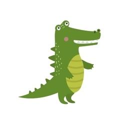Cartoon green crocodile reptile flat vector image