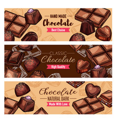 Chocolate candies and choco sweets vector