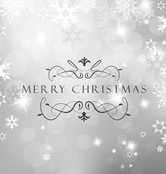 Christmas silver background with snow flakes and vector