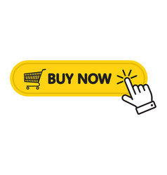 Click here buy now button with a shopping cart vector
