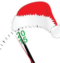 clock for new year 2015 with hat vector image