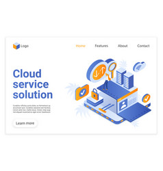 cloud service solution landing page vector image