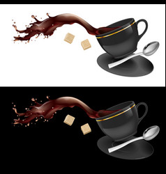 Coffee in gray cup on white and black background vector