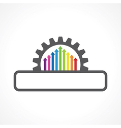 Colorful arrow inside gear with copyspace stoc vector
