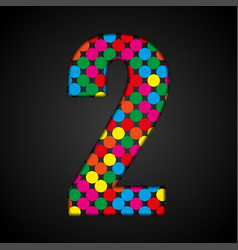 Colorful sign sequins or glitter dots number - 2 vector