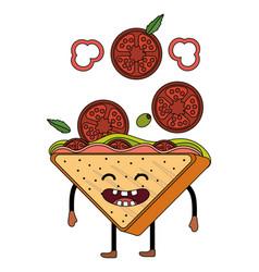Delicious tasty sandwich cartoon vector