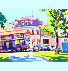 digital painting sunny day in city summer vector image