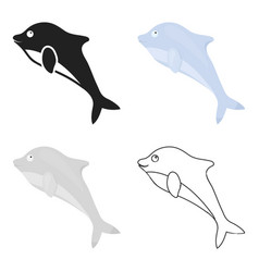 Dolphin icon cartoon singe animal icon from the vector