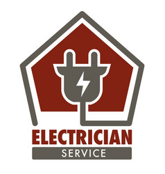 Electrician service isolated icon plug and current vector