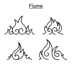 Flame fire burn in thin line style vector