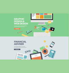 flat design concepts for graphic and web design vector image