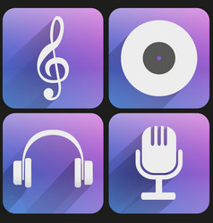 Flat icon set sound music for Web and Application vector