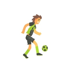 Football Player Running With Ball Isolated vector
