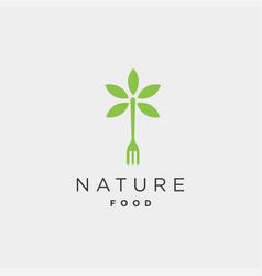 Fork nature food equipment simple flat logo vector