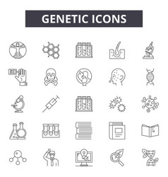 genetic line icons for web and mobile design vector image
