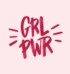 Girl power inscription handwritten with bright vector