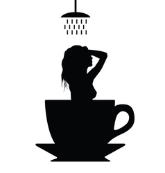 girl shower in cup of coffee silhouette vector image