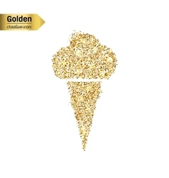 Gold glitter icon of ice cream isolated on vector image