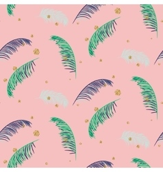 Green blue banana palm leaves pink seamless vector