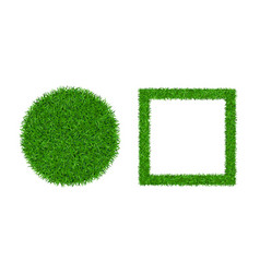 green grass background 3d set lawn greenery vector image