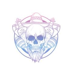 hand drawn sketch skull with maracas vector image