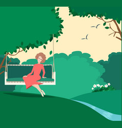 Happy graceful woman sitting in a summer garden vector