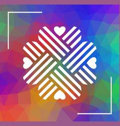 heart shaped cloverleaf ornament over polygonal vector image