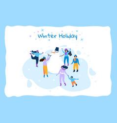 horizontal flat banner winter holiday blue frame vector image