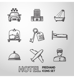 Hotel and service monochrome freehand icons set vector