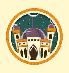 Islamic ramadan eid mubarak mosque banner vector