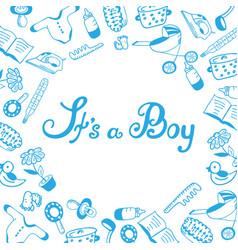 It s a boy baby shower birth announcement vector