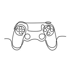 Joystick a game stick one line drawing vector