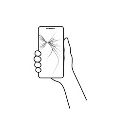 linear broken phone in hand vector image