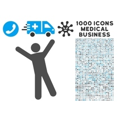 Man Joy Icon with 1000 Medical Business Pictograms vector