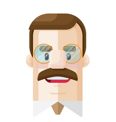 Man with glasses flat icon vector