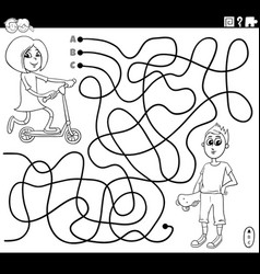 maze with girl and boy coloring book page vector image