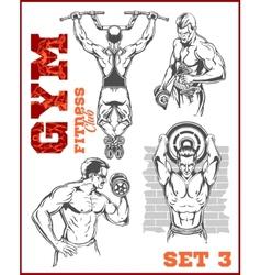Men - bodybuilders GYM bodybuilding vector image