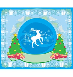 Merry Christmas card with snowflakes and reindeer vector image