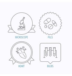 Microscope medical pills and heart icons vector