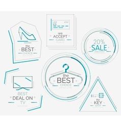 Minimal line design shopping stamps vector image
