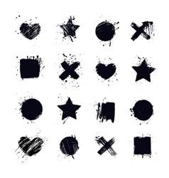 Modern art stickers grunge backgrounds place vector