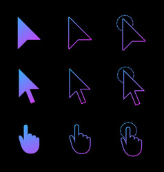 mouse cursor icon set arrow and hand in modern vector image