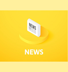 News isometric icon isolated on color background vector