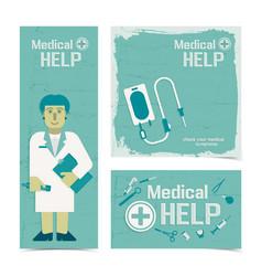 Nursing healthcare banners set vector