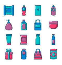 Packagiong store shop icons set flat style vector